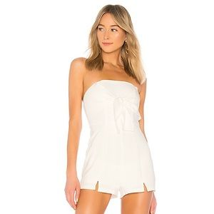 BY THE WAY Suzy Tie Front Strapless Romper Small